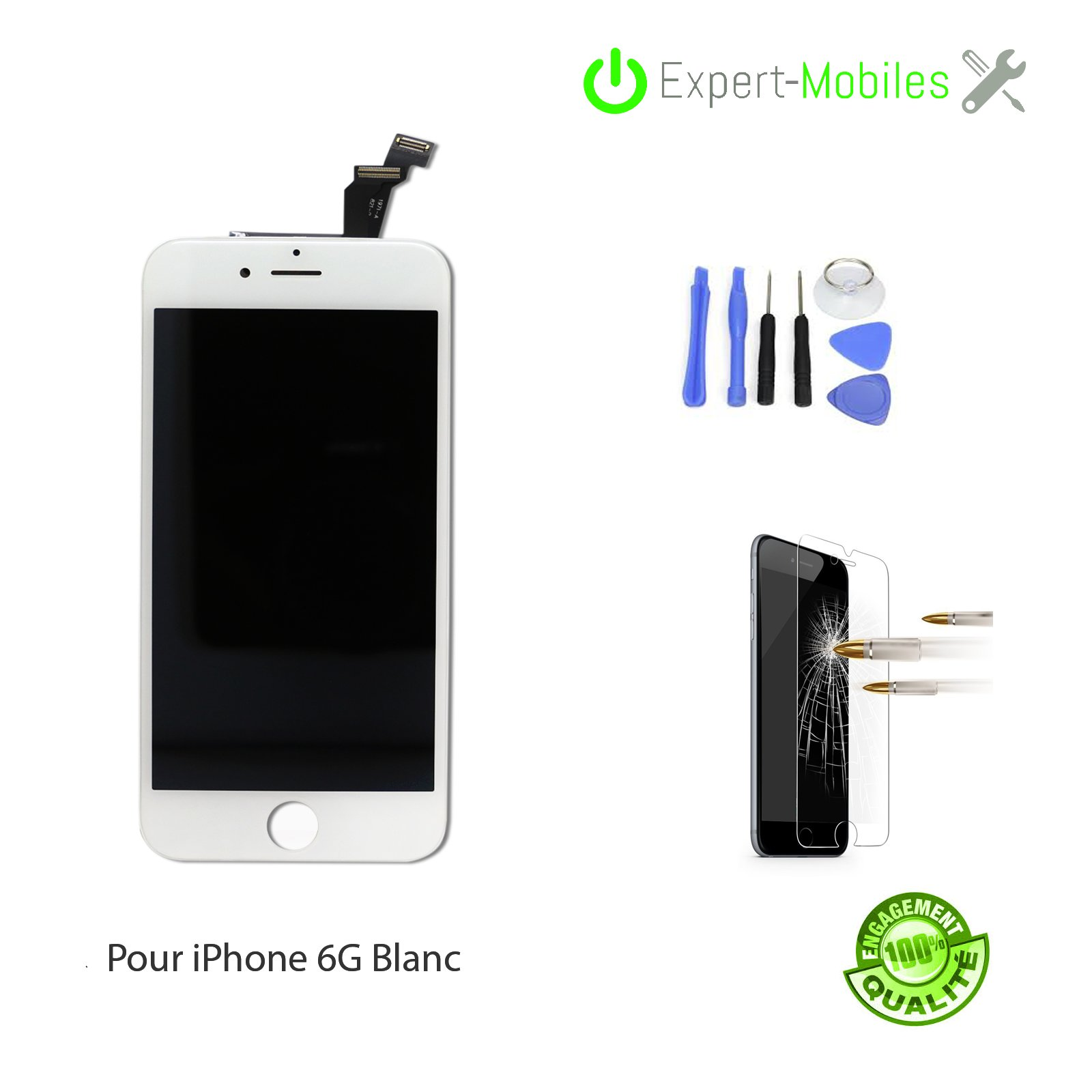Ecran 6g blanc outils verre tremp qualit premium e - Reparation telephone lorient ...